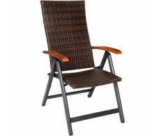Chaise de Jardin Fauteuil de Jardin de Camping Pliante Réglable en Aluminium et Résine Tressée 68