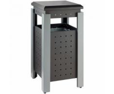 poubelle extérieur carré 36l gris/blanc,