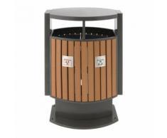 poubelle d'extérieur tri sélectif 2x39l bois,