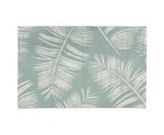 Tapis design 'SEQUOIA' 200x290 cm bleu avec motifs feuilles de palmier - intérieur / extérieur
