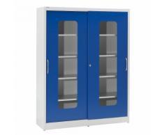 Armoire vitrée à portes coulissantes avec 2 x 4 tablettes, h x l 1950 x 1500 mm ,mauser