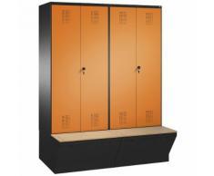Penderie EVOLO à portes fermant l'une contre l'autre, avec boîte de rangement 4 compartiments, largeur compartiments 400 mm ,CP