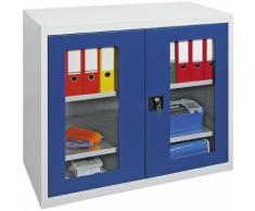 Armoire à portes battantes avec portes vitrées, 2 tablettes