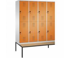 Penderie EVOLO à deux étages, avec banc 4 compartiments, 2 casiers chacun, largeur compartiments 400 mm | CP