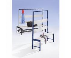 Banc pour vestiaires avec lattes en plastique et rangée de patères sans grille pour chaussures, simple face, 2000 mm, 10 patères