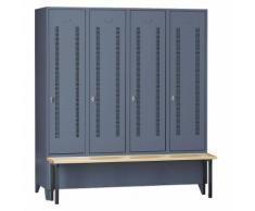 Vestiaire avec banc frontal portes en tôle perforée, largeur compartiments 400 mm, 4 compartiments | Wolf
