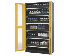 Armoire de laboratoire pour produits chimiques 2 portes, armoire haute, 6 tablettes coulissantes ,asecos