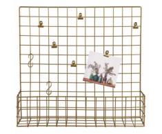Pêle-mêle rangement mural en métal doré 50x45