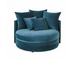 Canapé rond 1/2 places en velours bleu pétrole Dita