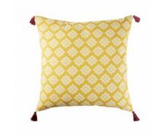 Coussin de sol d'extérieur en coton jaune motifs graphiques 80x80