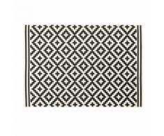 Tapis d'extérieur blanc motifs graphiques noirs 160x230