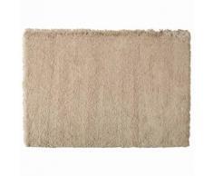 Tapis à poils longs en tissu beige 160 x 230 cm INUIT