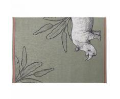 Tapis d'extérieur vert imprimés rhinocéros et feuillages 140x200