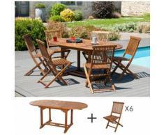 Ensemble 1 table ovale 120*180/90 cm + 3 lots de 2 chaises