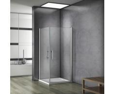 70x70x185cm Cabine de douche accès d'angle,porte pivotante verre anticalcaire