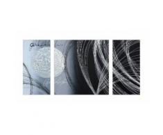 ABSTRACT Tableau multi-panneaux Toile peinte 70x140 cm gris