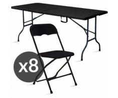 Table et chaise pliante - Noir - Ensemble de jardin pliable