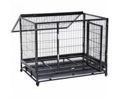 Cage pour chien animaux cage de transport sur roulettes 2 portes verrouillables plateau amovible