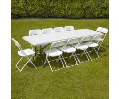 Ensemble table et 10 chaises pliantes de jardin 244cm