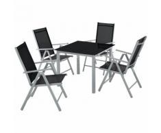 Salon de Jardin avec 4 Chaises Pliantes et 1 Table en Verre et en Aluminium Gris Noir