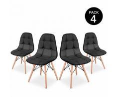 Pack 4 Chaise de salle a manger couleur Noir Design rembourre -McHaus