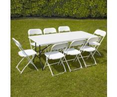 Ensemble table et chaises pliantes de jardin - 8 places 180cm - camping réception traiteur buffet