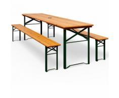 Ensemble Table et 2 bancs de jardin avec trou pour parasol - Salon de jardin