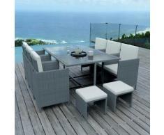 10 Places - Ensemble encastrable salon / table de jardin résine tressée-Gris /Ecru Model TUNGA10