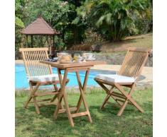 Salon de jardin en teck Ecograde Sawu, table pliante carrée 60 cm + 2 chaises Java