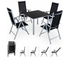 Salon de jardin Bern 4 et 1 Gris clair Ensemble table et chaises pliables en alu