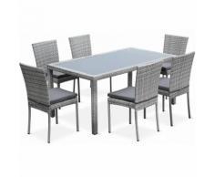 Salon de jardin en résine tressée 6 chaises, Nuances gris, table d'extérieur design