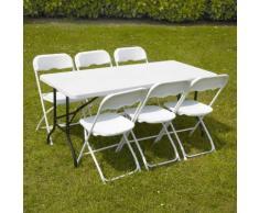 Ensemble Table et chaises pliantes de jardin 152cm