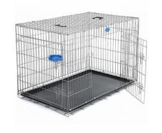 2 Portes Cage pour chien pliable et transportable avec Poignées et Plateau argenté 120 x 76 x 81cm