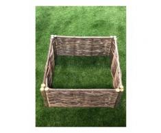 Potager carré en noisetier Tressage Horizontal - dimensions : 70 x 70 x 30 cm