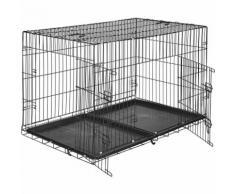 Cage Caisse Box de Transport pour Chien en Acier Pliable 122 cm x 76 cm x 81 cm Noir