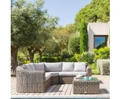 Salon d'angle de jardin Mooréa Naturae 5 places - Aluminium, Résine tressée, Polyester