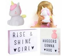 Coffret Licorne-Veilleuse LED Licorne & Light Box A4 Blanc/Rose A Little Lovely Company