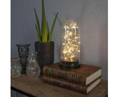 GLASS DOME-Cloche Guirlande Lumineuse LED pile H26cm Transparent Xmas Living Glass