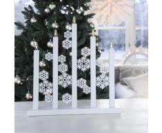 SNOWFALL-Chandelier LED Flocons Bois H48cm Blanc Xmas Living Glass