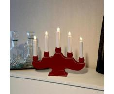 HANNA-Chandelier Bois 5 bougies ampoules H27cm Rouge Xmas Living Glass