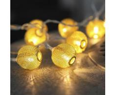 """NET BALL-Guirlande 10 Boules LED pile L1,85m Laiton Xmas Living Glass"""