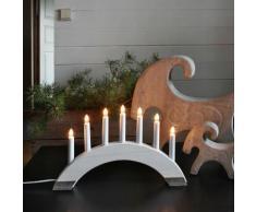 """""""VIKING-Chandelier Bois 7 bougies ampoules L41,5cm bois blanc Xmas Living Glass"""""""