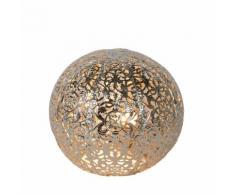 PAOLO-Lampe à poser en métal perforé Ø14.5cm Argenté Lucide