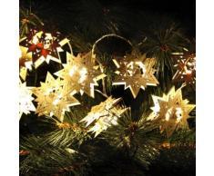 STAR LIGHT CHAIN-Guirlande Etoile 10 LED pile L1m bois naturel Xmas Living Glass