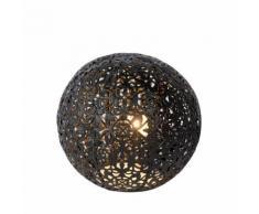 PAOLO-Lampe à poser en métal perforé Ø14.5cm Noir Lucide