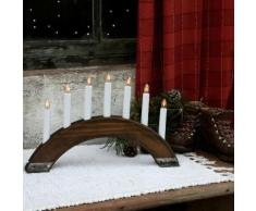 """""""VIKING-Chandelier Bois 7 bougies ampoules L41,5cm Bois fonc Xmas Living Glass"""""""