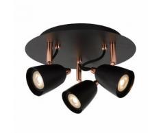 RIDE-LED-Plafonnier 3 Spots Orientables Métal Ø25cm noir cuivre Lucide