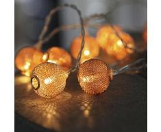 """NET BALL-Guirlande 10 Boules LED pile L1,85m Cuivre Xmas Living Glass"""