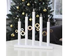 CIRCLE LIGHT-Chandelier Cercles Bois 5 LED H40cm Blanc Xmas Living Glass