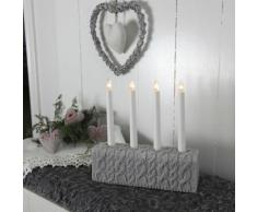 KNITTED-Chandelier Mailles 4 bougies ampoules H28cm gris Xmas Living Glass